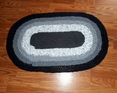 Oval Recycled Rag rug Toothbrush Amish Knot Grey