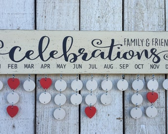 Family and Friends celebrations board, Family Birthday board - birthday calendar, wall family calendar, gift for mom