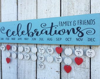 Birthday calendar - Family and Friends celebrations sign, Family Birthday board, wall family calendar,  Christmas gift for mom, Holiday gift