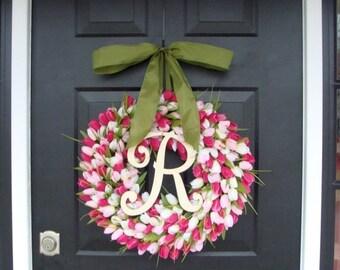 FALL WREATH SALE Pink Tulip Spring Wreath Summer Wreath- Mother's Day Gift- Spring Decor- Monogram Wreath- Pink Shabby Chic, The Original Tu
