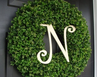 FALL WREATH SALE Custom Artificial Boxwood Wreath Outdoor Year Round Door Wreath Monogram Boxwood Wreath Spring Wreath Fall Wreath Christmas