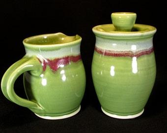 Cream and Sugar Set - Sugar and Cream Set - Green Cream Pitcher - Sugar Jar - Small Pitcher - In Stock