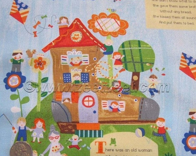 The Old Lady In The Shoe Children's Fabric by Jill McDonald for Windham Fabrics