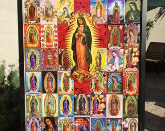 "50% OFF - Colorful Vintage GUADALUPE Chromos Historical Religious 20 x 30"" Photo Fine Art Print by MARIPOSAFUERTE"