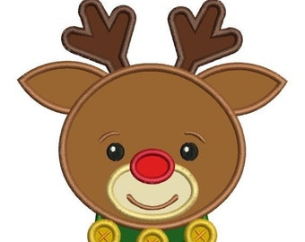 SALE 65% off Applique Rudolph Red Nose Reindeer Christmas Machine Embroidery Designs 4x4 & 5x7 Instant Download Sale