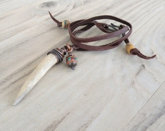 Nomadic Talisman, Leather Charm Necklace, Antler Tip, Tribal Necklace, Natural Jewelry, Handmade