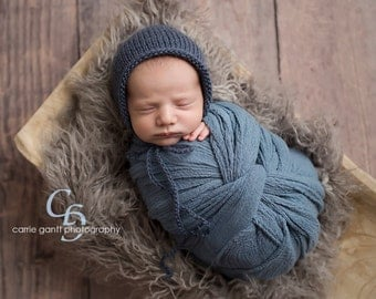Newborn Knit Handmade Rounded Back Wool Bonnet Made to Order