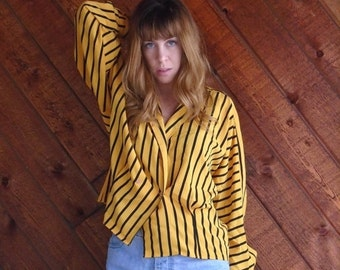 extra 25% off SALE ... Yellow and Black Striped Dolman Sleeve Blouse - Vintage 80s - LARGE L