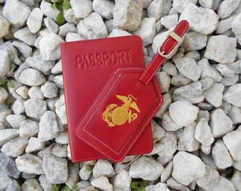 Leather Passport Cover and Luggage Tag in Red