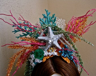 Undersea Royalty: Mermaid Crown Headpiece Headband Silver Starfish Vintage Jewels Brilliant Colors Glitter Hot Pink Turquoise Green