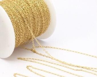 Brass Chain, Solder Chain, Link Chain, 5 M - (1.5x2mm) Raw Brass Soldered Chain - ( Z001 )