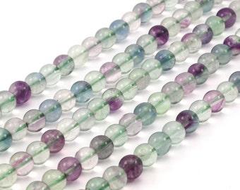Fluorite 6 mm Gemstone Round Beads 15.5 inches Full Strand T007