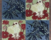 Set of 4 Starling and Ptarmigan coasters for the bird lover
