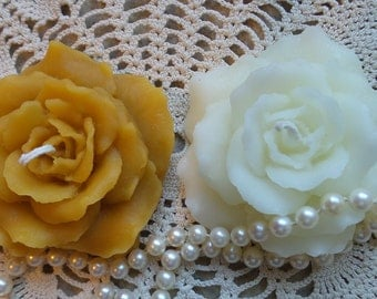 Beeswax Candle Pair Hand Sculpted Rose Floating Candle White or Natural Pure Beeswax