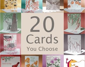 20 Letterpressed Greeting Cards, You Choose