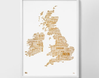 British Isles Foil Blocked Type Map, British Isles Word Map, British Isles Artwork, British Isles Font Map