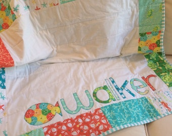 Personalized Baby Name Quilt- Sea Buddies