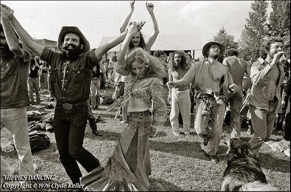 HIPPIES DANCING, Clyde Keller Photo, featured  on Huffington Post, Fine Art Print, toned Black and White, vintage 1976 image