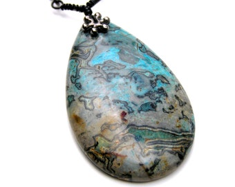 Blue Lace Agate Pendant Necklace, Gemstone Necklace