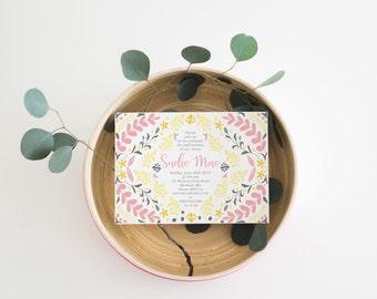 Birthday Baptism Shower Folk Art Floral Invitations (in Three Colorways), Set of 10
