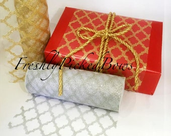 "6"" x 10 yards LATTICE Glitter  Tulle Gold or Silver"