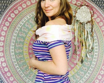 Colorful Stripes Striped Hooded Cowl Neck Off The Shoulder Upcycled/Recycled Tshirt Tee Top Hippie Bohemian OOAK Clothing Size Small