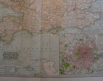1899 Map Southern Part England and Wales - Vintage Antique Map Great for Framing 100 Years Old
