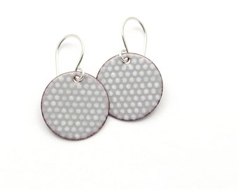 Gray Enamel Earrings - Gray Earrings - Enamel Jewelry - Polka Dot Earrings