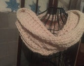 Bulky Cream Cowl Infinity Scarf thick texture
