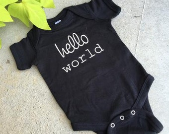 H E L L O world ... newborn onesie ... black