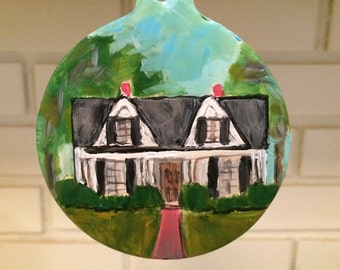 Hand painted House Portrait Ornament of your Home