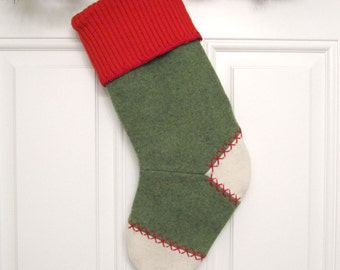 Green Knit Customizable Christmas Stocking Personalized Holiday Decoration Handcrafted from Felted Wool Sweaters no780