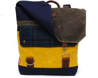 Waxed Canvas Backpack / Yellow Waxed Canvas, Schoolhouse Vintage Wool & Oiled Leather READY TO SHIP