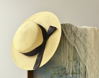 25% OFF.... Weekend in Provence hat | vintage 1930s hat | wide brim 30s straw hat