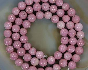 "16"" Strand of Natural Rhodonite Round 6.2mm Beads"