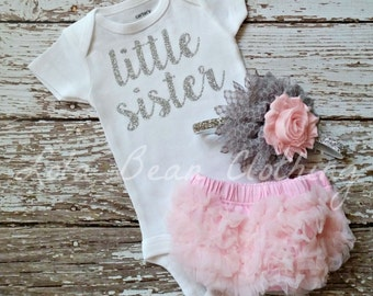 Baby Girl Take Home Outfit Newborn Baby Girl Little Sister Bodysuit Pink Bloomers Pink & Grey Headband Set