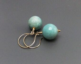 Pale Aqua Amazonite Gemstone Bead Drop Earrings Handmade Gold Filled ear hooks, natural hand faceted