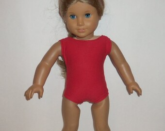 Red Bathing Suit, Swimsuit, 18 Inch Doll,  Dancewear Gymnastics, American Made, Girl Doll Clothes
