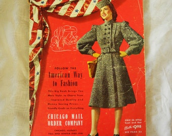 Vintage catalog, 1940s Chicago Mail Order Company, WWII era, 1940-1941, clothing, hats, shoes, home décor