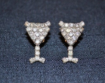Vintage Lady Loves A Martini Rhinestone Clip Earrings