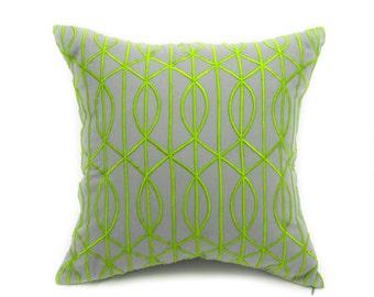 Gray Trellis Pillow Cover, Gray Linen Green Trellis Embroidery, Modern Home Decor, Contemporary Pillow Case,  Embroidered Couch Pillow
