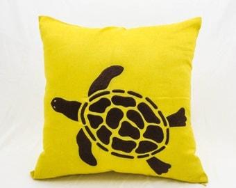 Sea Turtle Pillow Cover, Yellow Linen Dark Brown Turtle Embroidery, Nautical Pillow, Sea Life Decor, Cottage Decor, Decorative Pillow