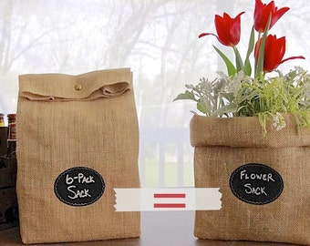 Sets of 8 - 11 Large Burlap Bags with Re-Useable Chalkboard Labels for Wedding Aisle Decoration or Outdoor Decor