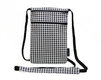 Fabric Passport Holder, Security Neck Wallet, Small sling bag, Fabric travel pouch, Travel Accessory - Black and White Mini Houndstooth