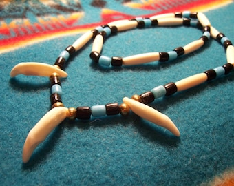 Coyote Tooth Necklace-Coyote Canine-Hair pipe