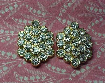 Vintage Nolan Miller Crystal Honeycomb Gold tone Clip on Earrings