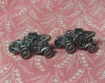 Vintage Anson Model T Antique Car Silver tone Cuff Links