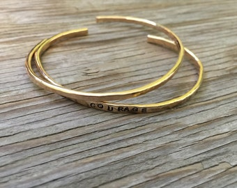 ONE Bracelet hand forged cuff 12K yellow gold fill bracelet handmade jewelry gold stackable bracelet inspirational jewelry handmade cuff