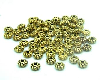 Antique Gold Spacer Bead detailed 4mm rope pattern
