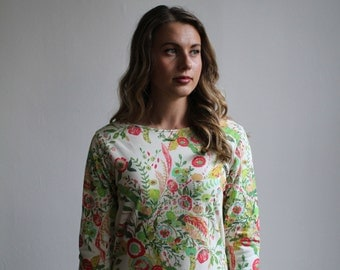Floral Jersey Long Sleeve Dress. Floral Boho Shift 60s Mod Dress. Womens Clothing Natural Flowers Woodland Wild Flowers Dress, Spring Floral